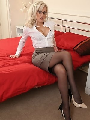 """Sexy Syren in black stockings and office dress"""
